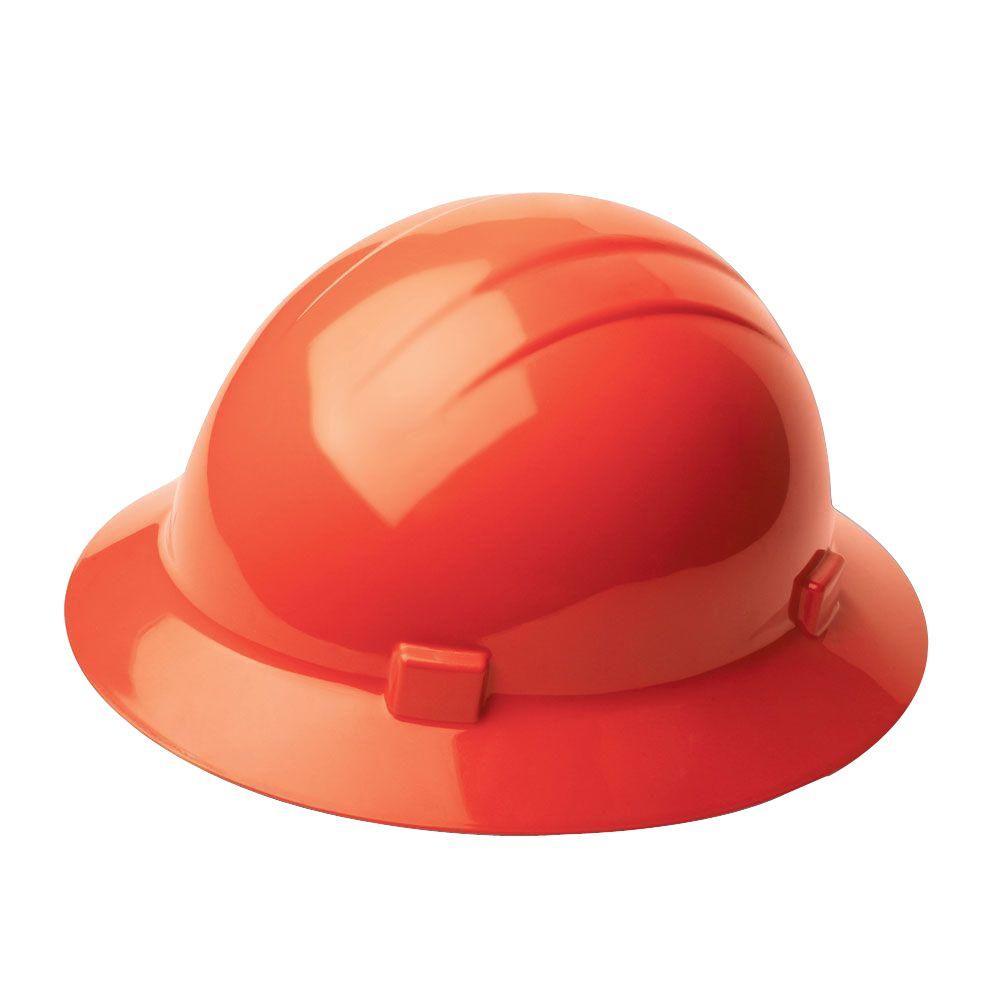 4 Point Nylon Suspension Mega Ratchet Full Brim Hard Hat in Hi Viz Orange