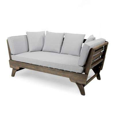 Gray Wood Outdoor Daybed with Light Gray Cushions