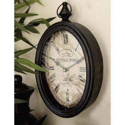 2 Assorted 15 in. x 8 in. Antique Reproduction Style Oval Wall Clocks