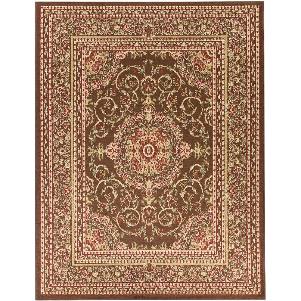 Pasargad Khotan Persian Wool Area Rug 8 X10: Ottomanson Traditional Oriental Medallion Brown 8 Ft. X 10
