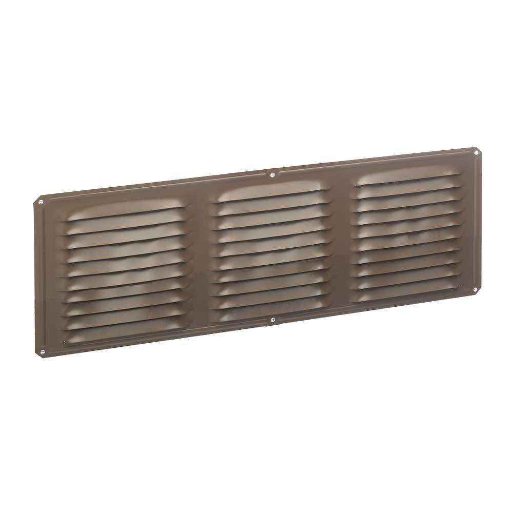 16 In X 6 In Aluminum Louvered Soffit Vent In Brown