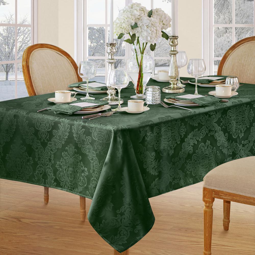 Elrene 60 in. W x 144 in. L Hunter Elrene Barcelona Damask Fabric Tablecloth