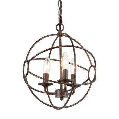 Vieux 12 in. 3-Light Bronze Globe Chandelier