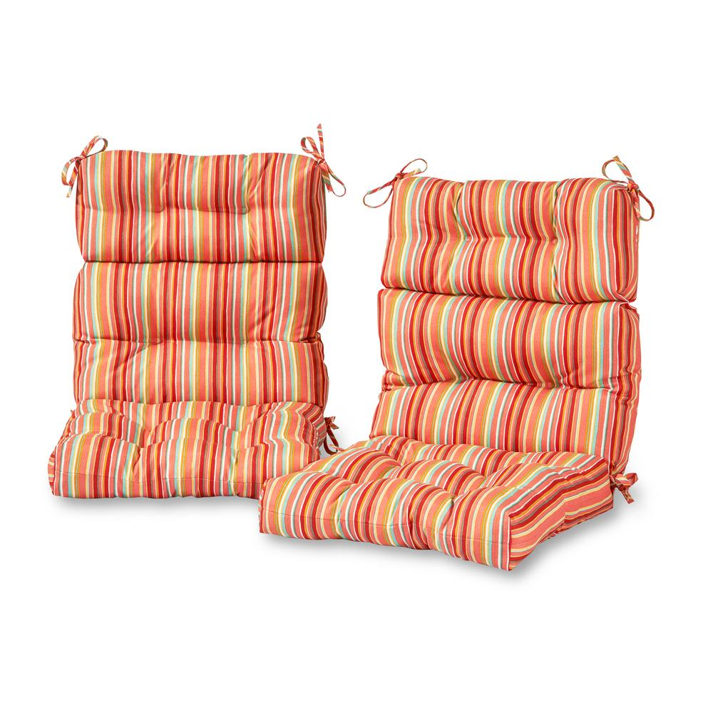 Watermelon Stripe Outdoor High Back Dining Chair Cushion 2 Pack