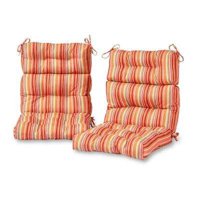 Watermelon Stripe Outdoor High Back Dining Chair Cushion (2-Pack)