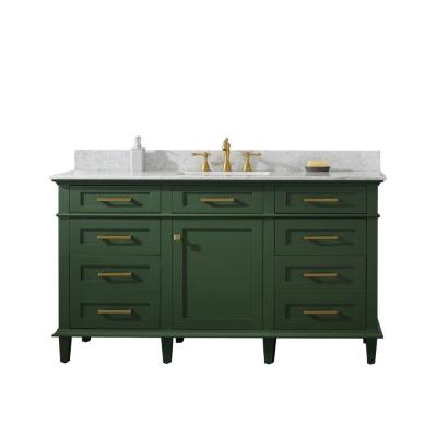 60 in. W x 22 in. D Vanity in Vogue Green with Marble Vanity Top in White with Single White Basin with Backsplash