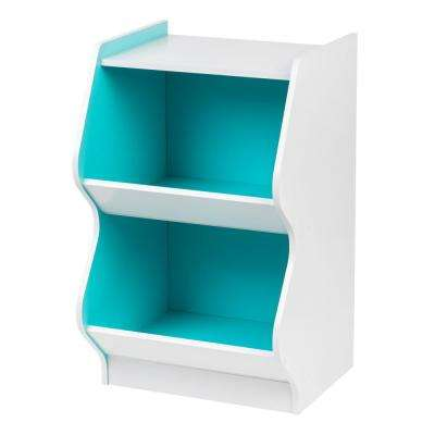 2-Tier White and Blue Curved Edge Storage Shelf