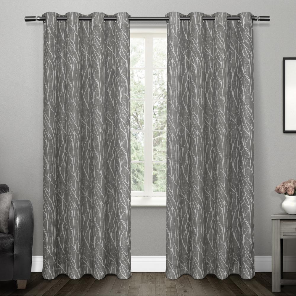 Oakdale Black Pearl Motif Textured Linen Grommet Top Window Curtain