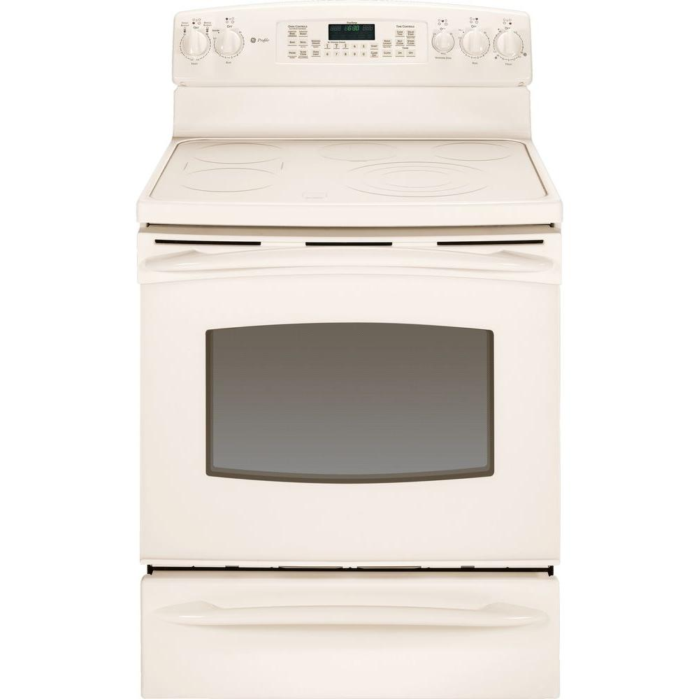 GE Profile 5.3 cu. ft. Electric Range with Self-Cleaning Convection Oven in Bisque