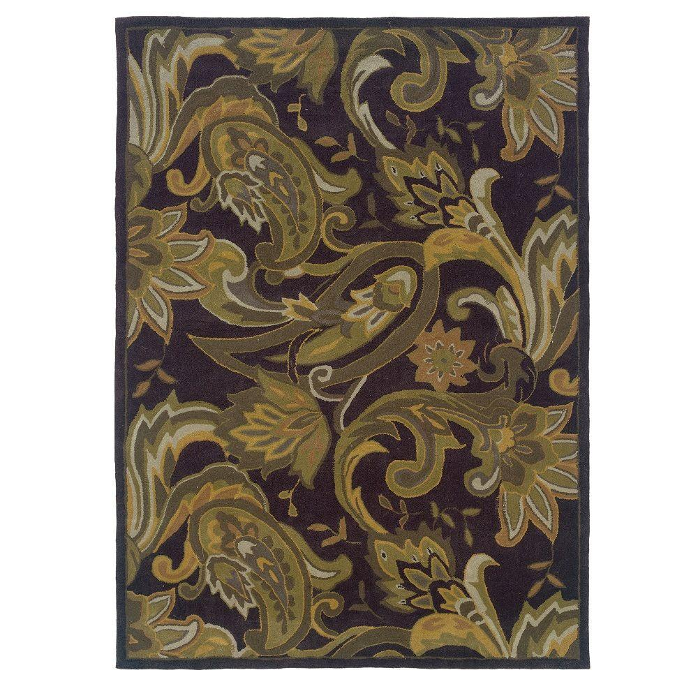 Linon Home Decor Trio Collection Aubergine and Green 5 ft. x 7 ft. Indoor Area Rug