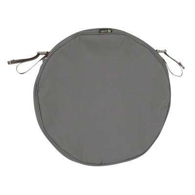 Montlake Fade Safe Light Charcoal 15 in. Round Outdoor Seat Cushion Cover