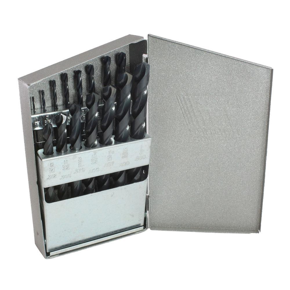 Black Oxide High Speed Steel Reduced Shank Drill Bit Set (15-Piece)