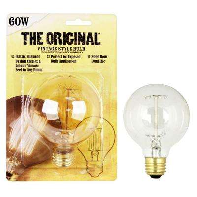 60W Soft White G25 Dimmable Incandescent Antique Edison Amber Filament Vintage Style Light Bulb