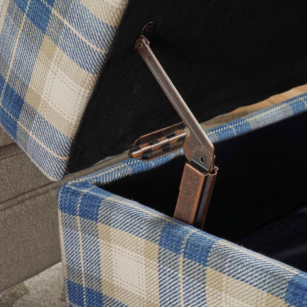 Pleasing Noble House Daisha Blue Plaid Fabric Storage Ottoman 16595 Machost Co Dining Chair Design Ideas Machostcouk