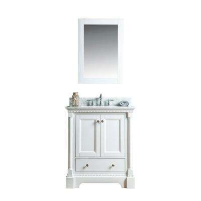 Olivia 30 in. W x 22 in. D Vanity in White with Marble Vanity Top in White with White Basin