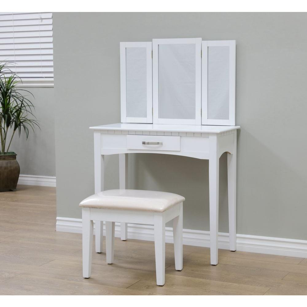 Megahome 3 Piece White Vanity Set