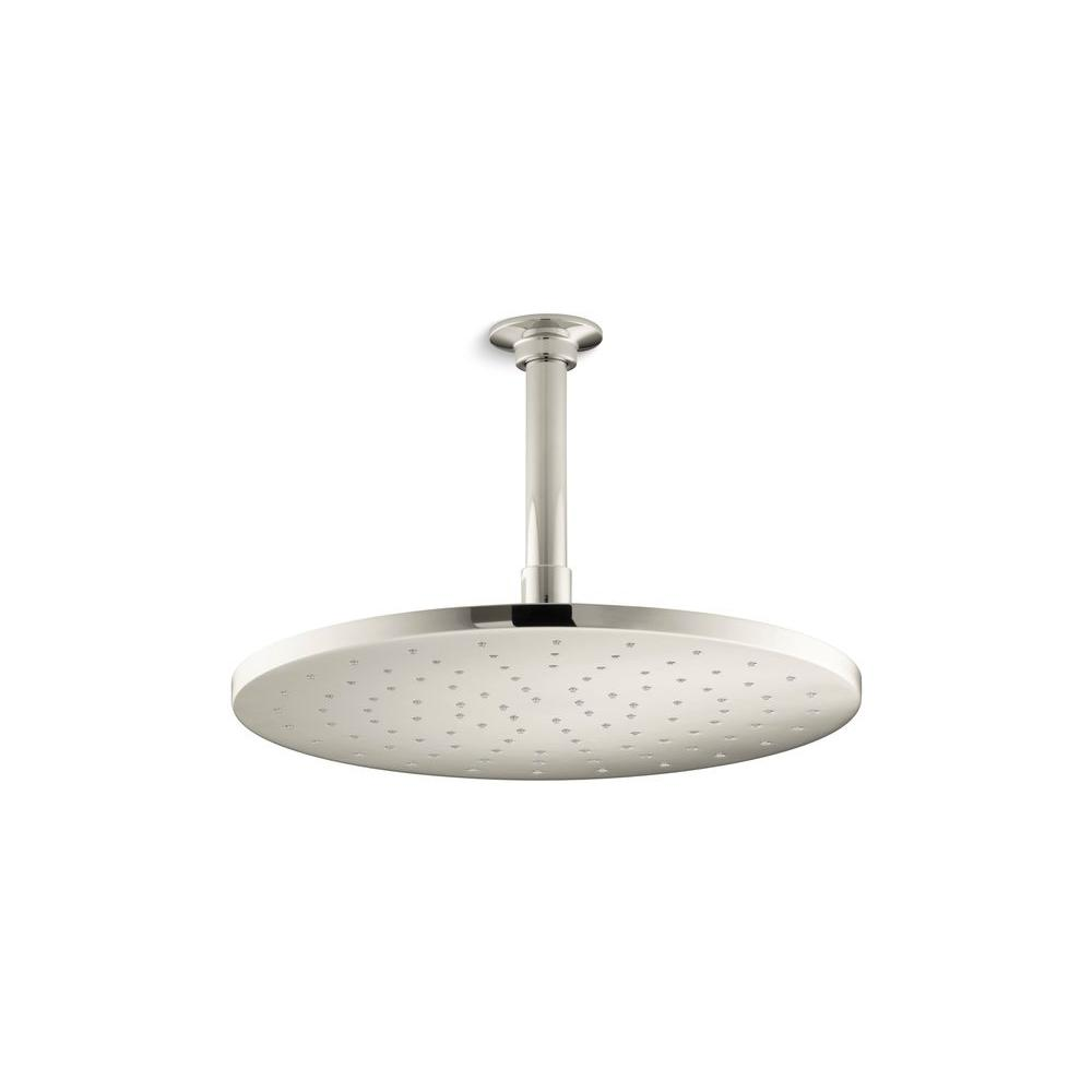 KOHLER 1-spray Single Function 12 in. Contemporary Round Rain Showerhead in Polished Nickel