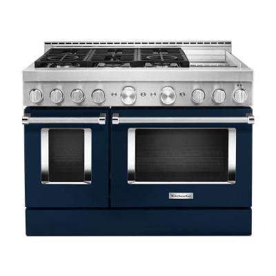 48 in. 6.3 cu. ft. Smart Double Oven Commercial-Style Gas Range with Griddle and True Convection in Ink Blue