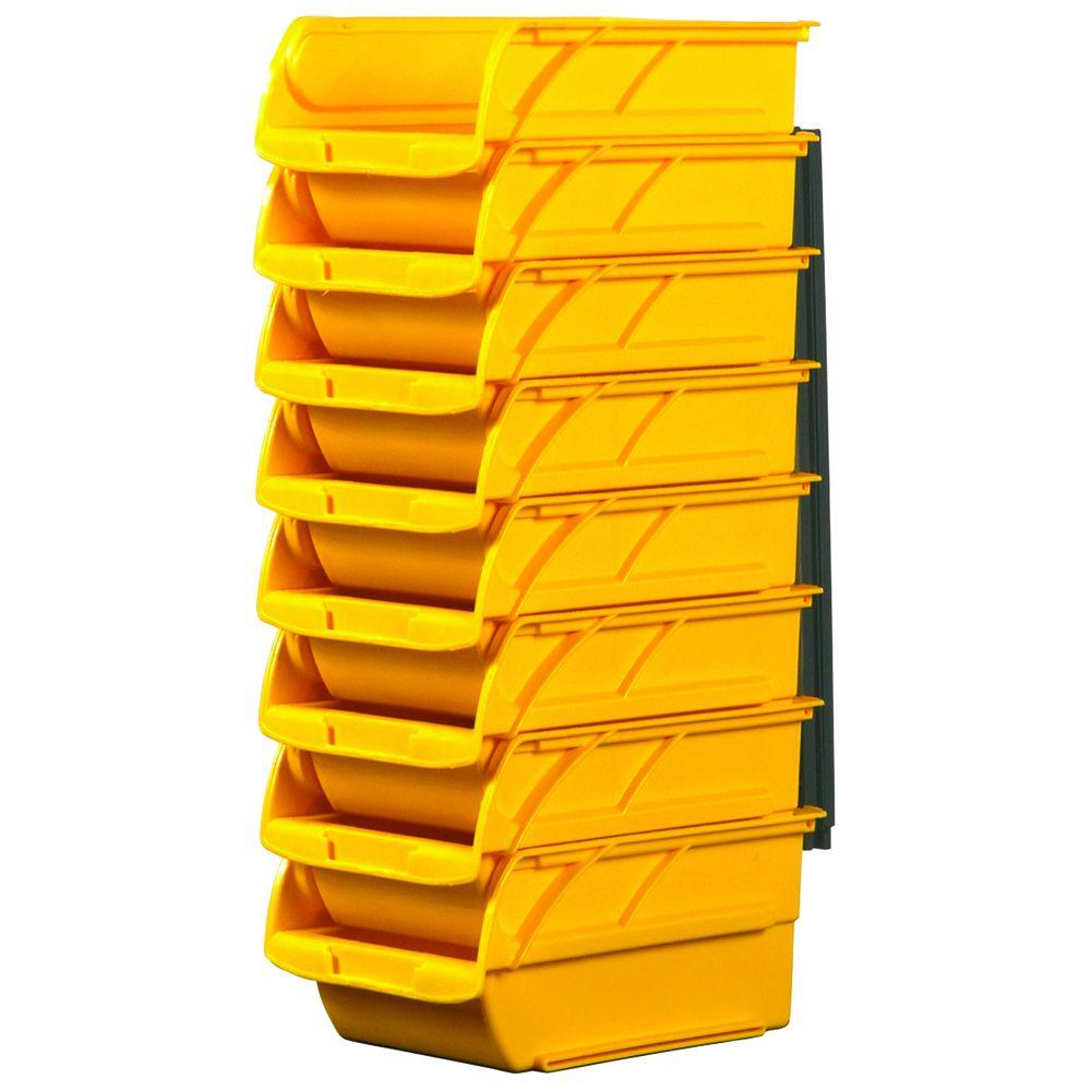 Number Two 4-1/10 in. Yellow Stackable and Mountable Storage Bins with