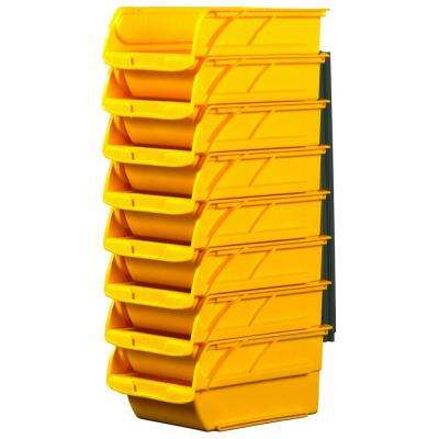 Number Two 4-1/10 in. Yellow Stackable and Mountable Storage Bins with Hangers (8-Pack)