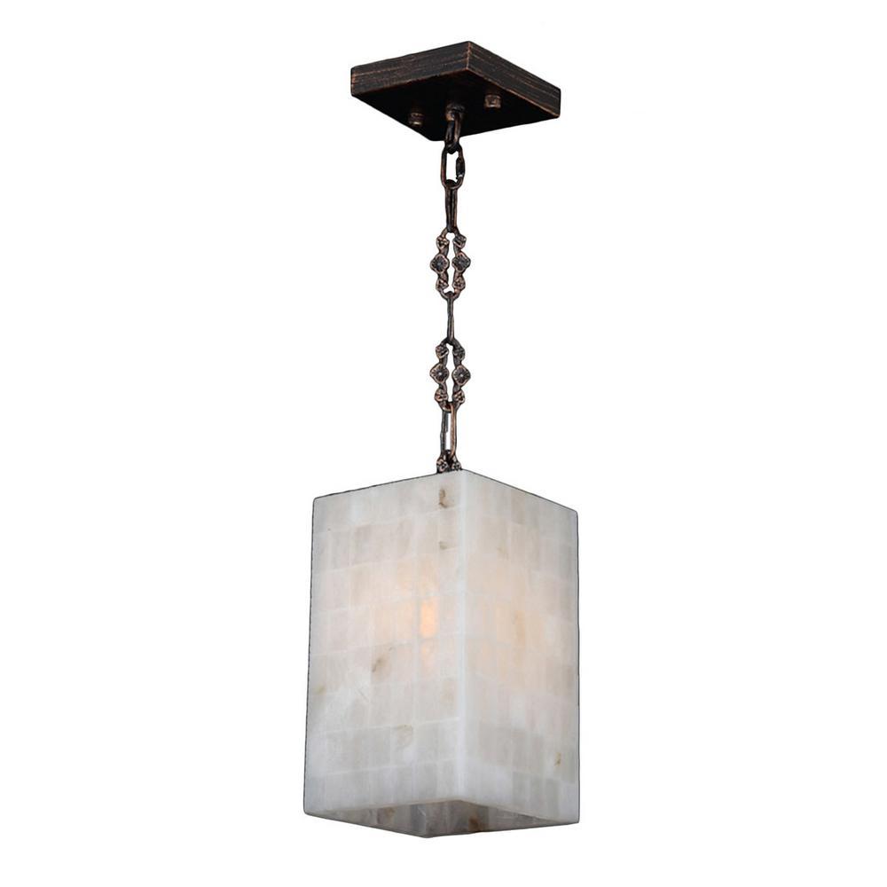 Pompeii 1-Light Flemish Brass Natural Quartz Mini-Pendant Square