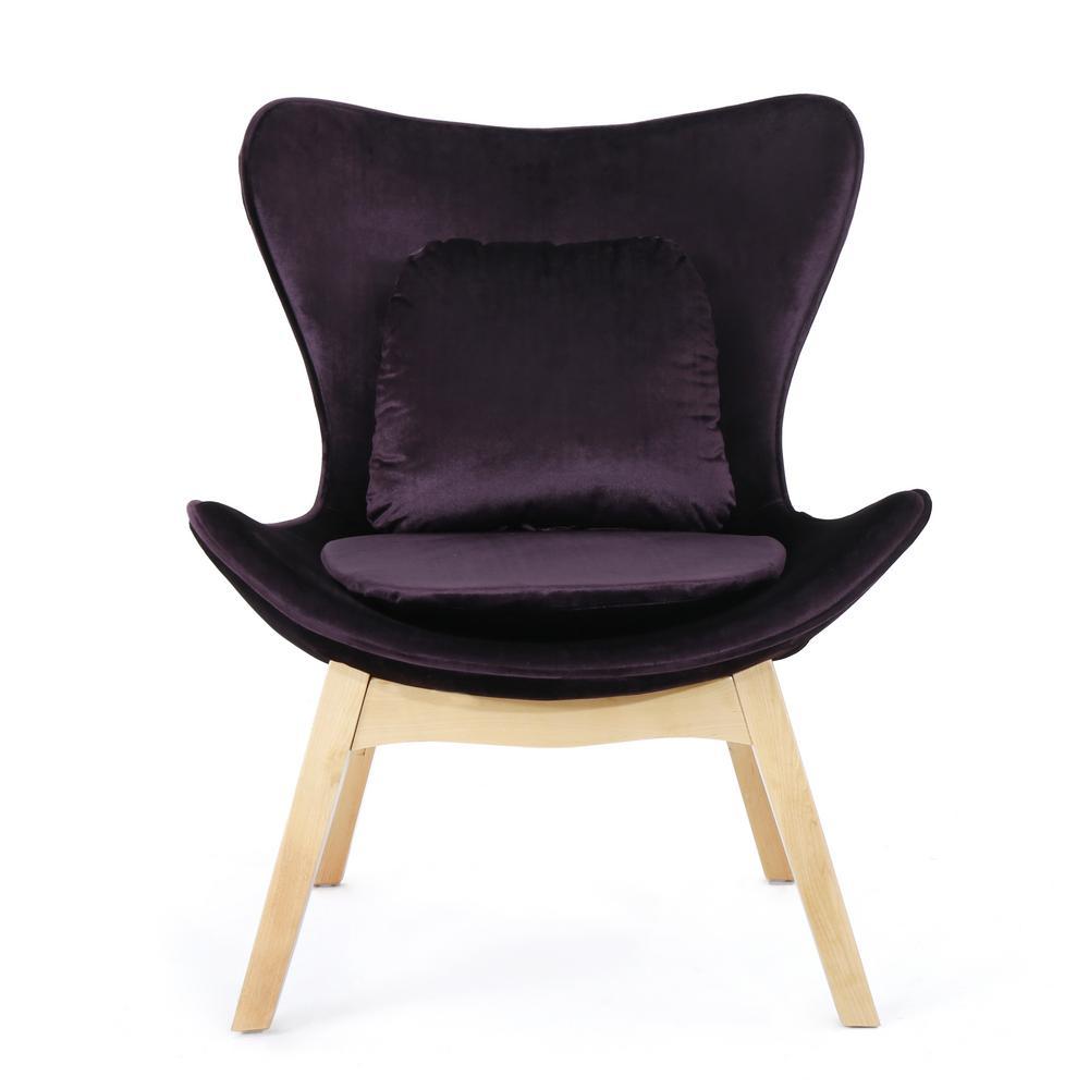Nettie Blackberry and Natural Velvet Accent Chair