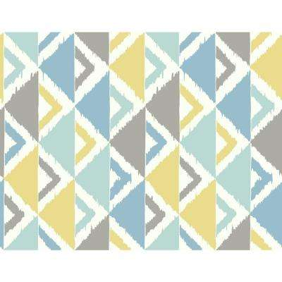 Kids Dino Peak Light Blue, Gray and Gold Geometric Wallpaper