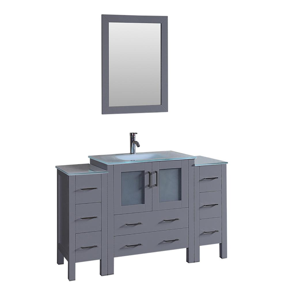 Bosconi 54 in. W Single Bath Vanity with Tempered Glass Vanity Top in White with White Basin and Mirror