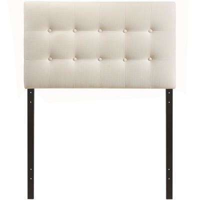 Emily Ivory Twin Upholstered Fabric Headboard