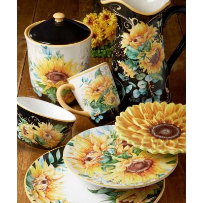 Sunflower Fields 16-Piece Multi-Colored Earthenware Dinnerware Set