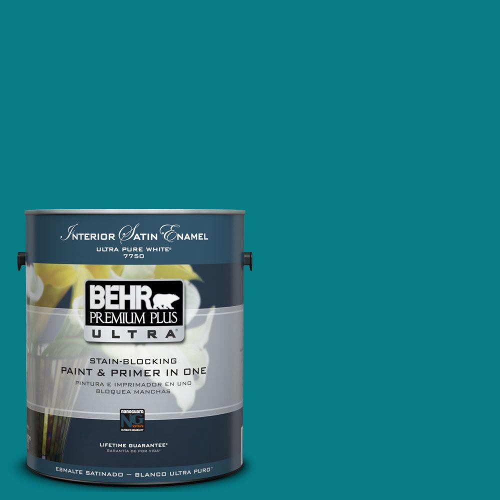 BEHR Premium Plus Ultra 1 gal. #UL220-1 Caribe Interior Satin Enamel Paint