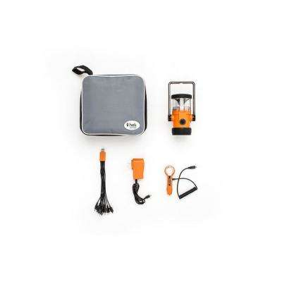 Heli 4400 Home and Car Kit AC Wall Adapter/10-in-1/DC Car Charger LED Rechargeable Lantern in Orange