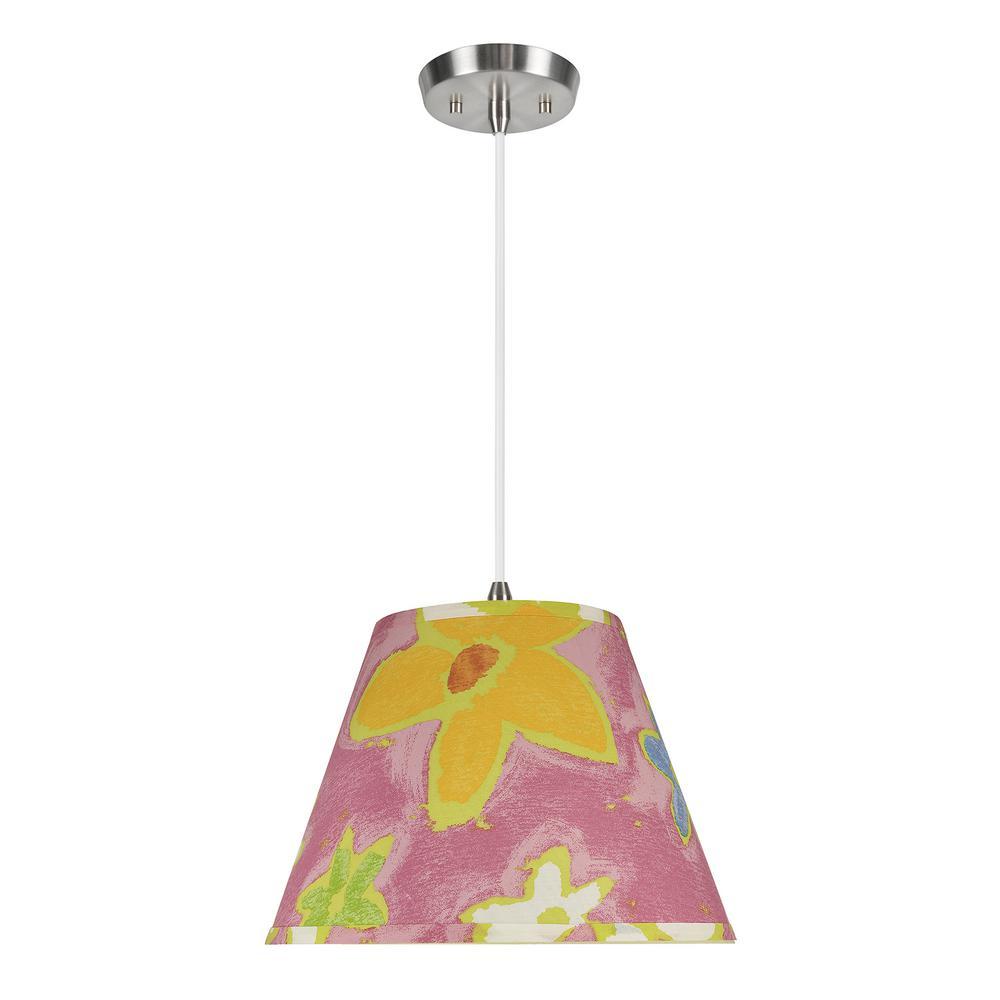 1-Light Satin Nickel Pendant with Pink Hardback Empire Fabric Shade