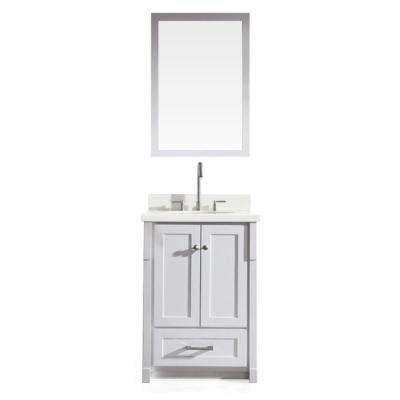 Adams 25 in. Bath Vanity in White with Quartz Vanity Top in Speckled White, Under-Mount Basin and Mirror