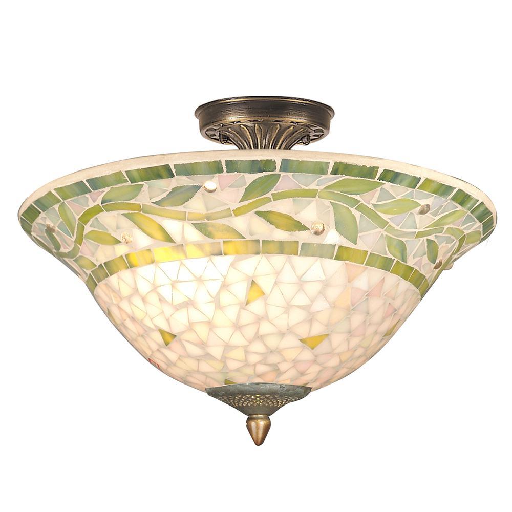 Cadena Mosaic 3-Light Antique Brass Finish Semi-Flushmount
