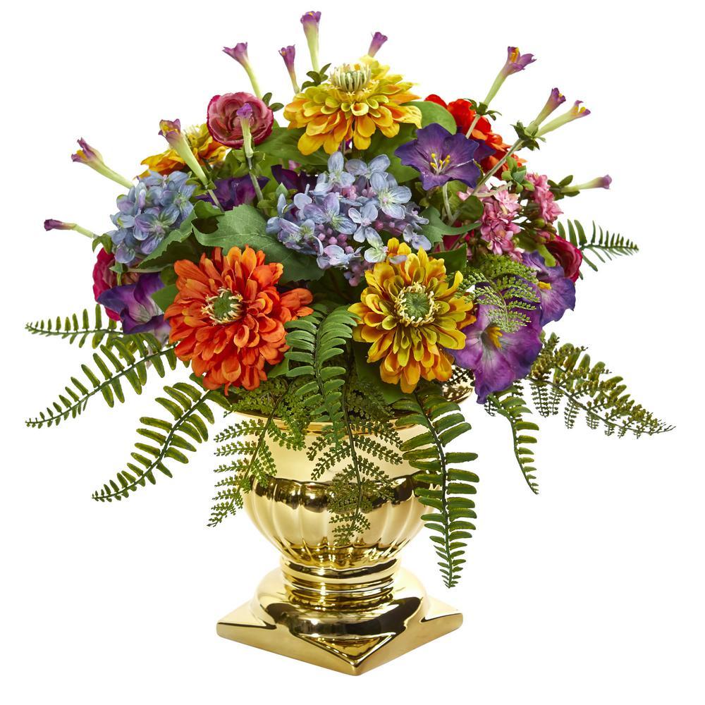 14 in. Indoor Mixed Floral Artificial Arrangement in Gold Urn