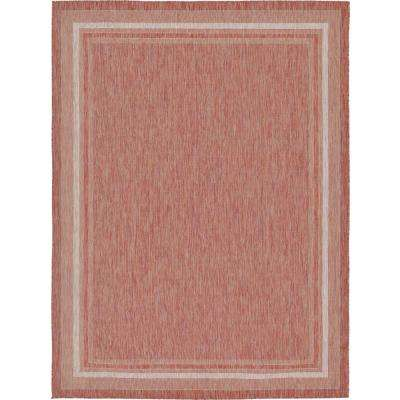 Outdoor Soft Border Rust Red 9' 0 x 12' 0 Area Rug