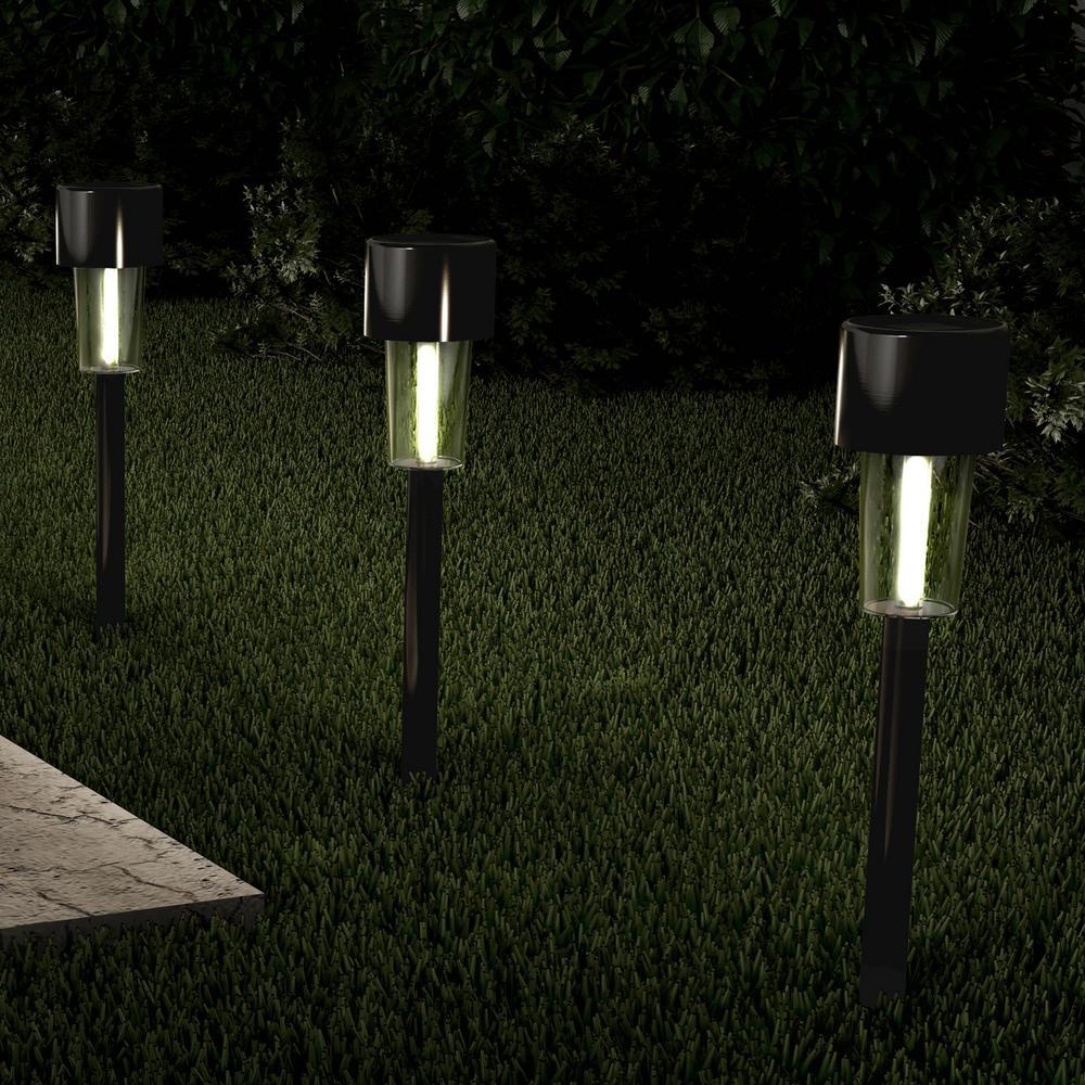 12 2 In Black Outdoor Integrated Led Landscape Solar Path Lights 12 Pack Hw1500100 The Home Depot