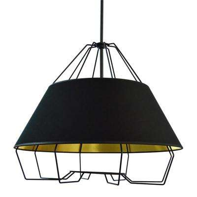 4 Light Black And Gold Pendant With Painted Steel Shade