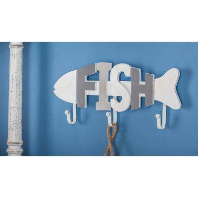 7 in. x 15 in. Coastal Living Wood and Metal Fish Wall Hook