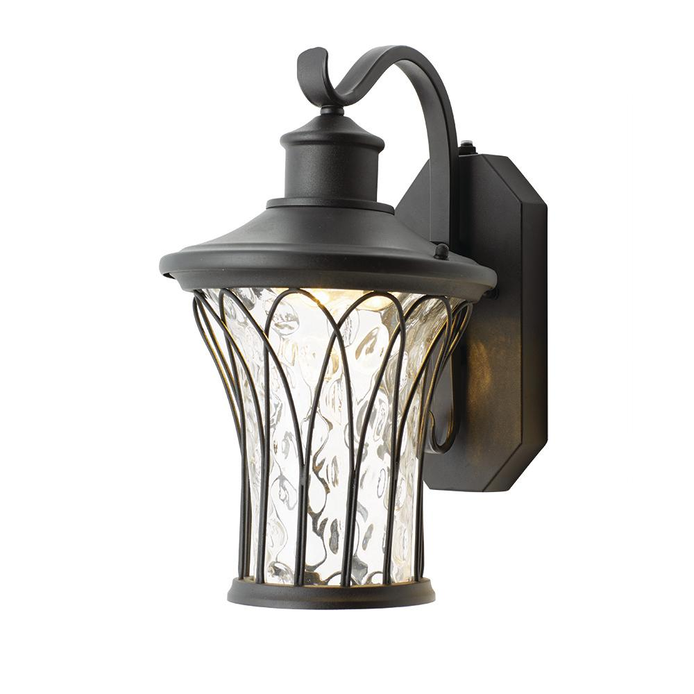 Home Decorators Collection Black Medium Outdoor Led Dusk To Dawn Wall Lantern Led Hd501bk Med