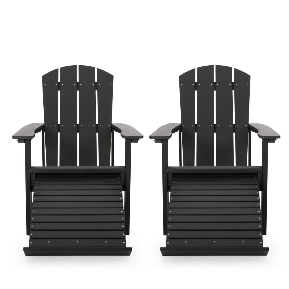 Cosette Black Reclining Wood Adirondack Chair (2-Pack)