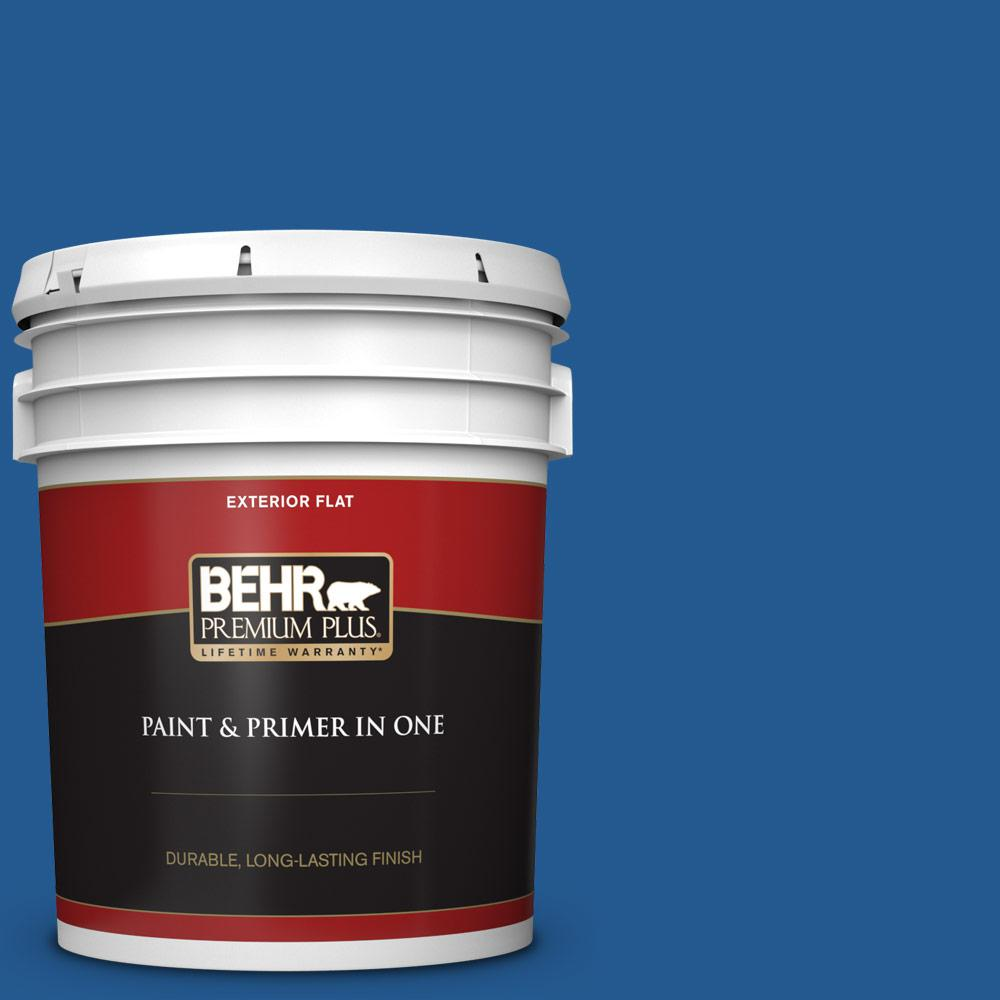 Behr Premium Plus 5 Gal S G 570 Sapphire Lace Flat Exterior Paint And Primer In One 430005 The Home Depot