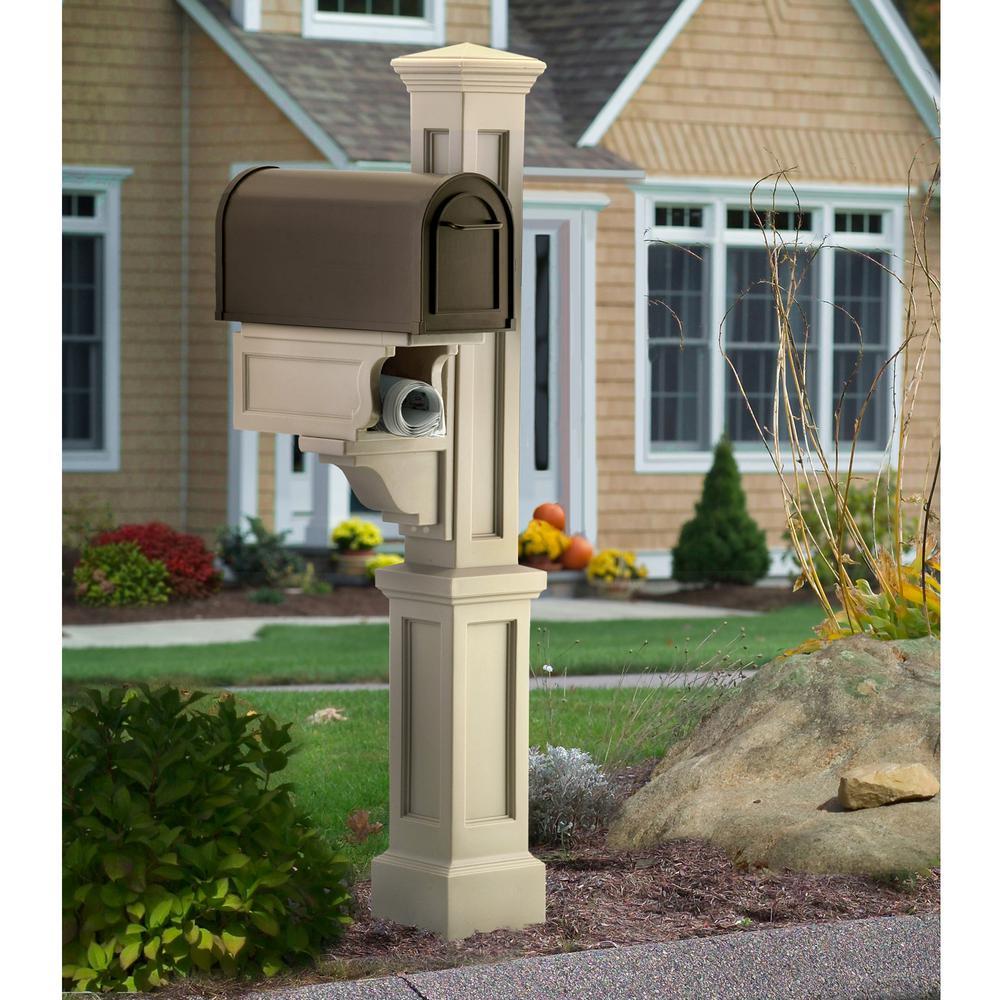 Mayne Rockport Single Mailbox Post, Clay