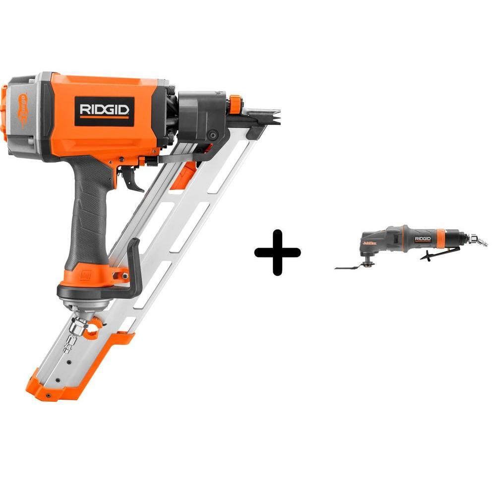 RIDGID 3-1/2 in. 15 Degree Clipped Head Framing Nailer and Pneumatic JobMax Multi-Tool Starter Kit