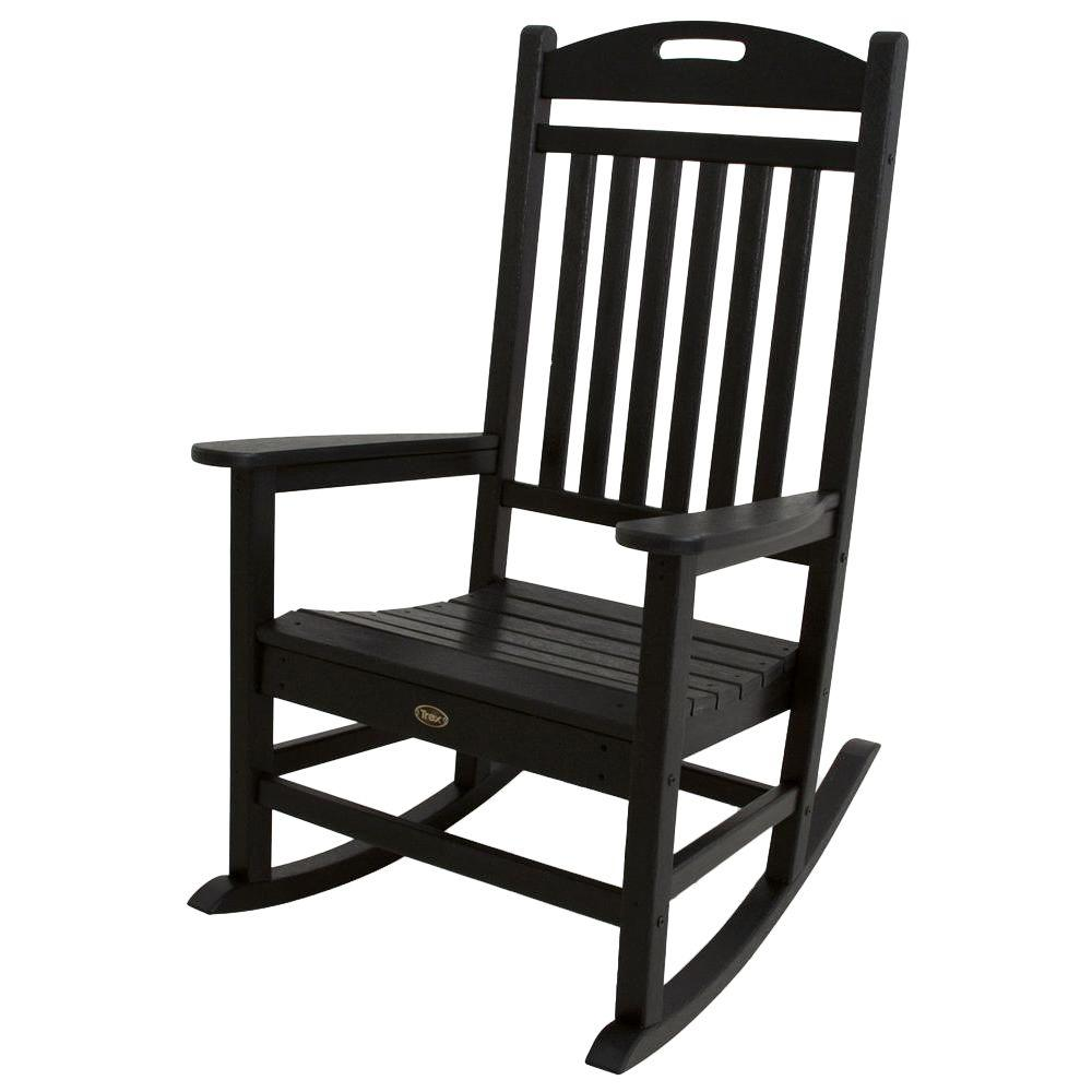 trex outdoor furniture yacht club charcoal black patio rocker - Patio Rocking Chairs