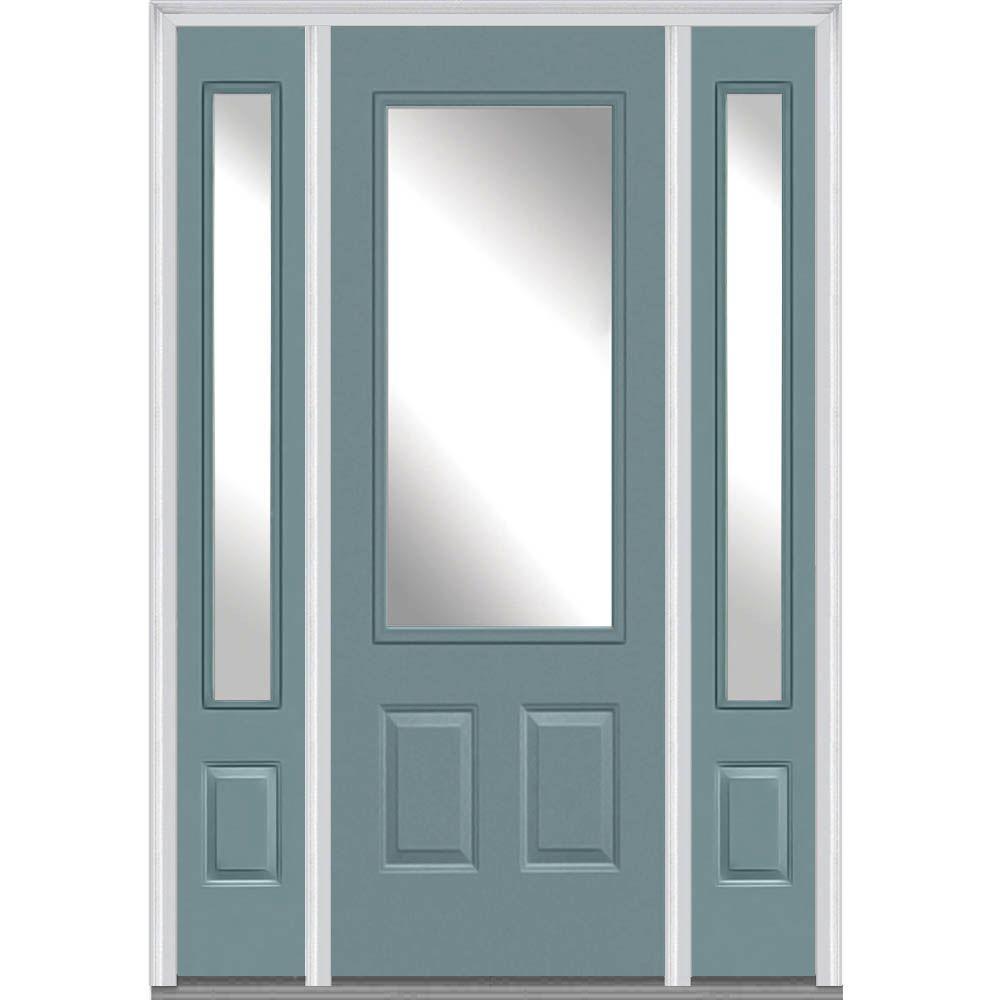 Milliken Millwork 64 in. x 96 in. Classic Clear Glass 3/4 Lite Painted Fiberglass Smooth Prehung Front Door