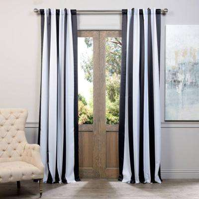 semiopaque awning black and white stripe blackout curtain