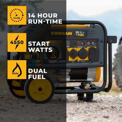 4550/3650-Watt Recoil Start Gas or Propane Dual Fuel Portable Generator CARB and cETL Certified With Wheel Kit