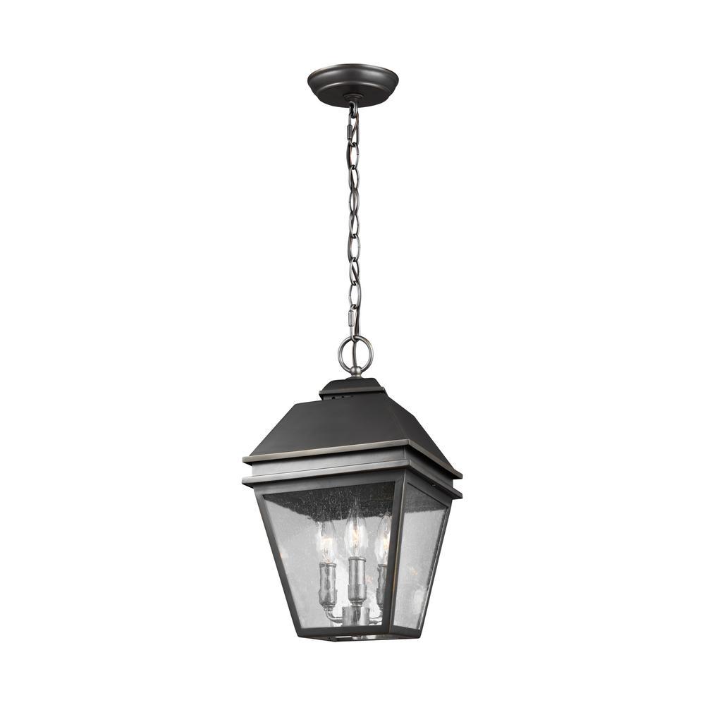 Herald 3-Light Antique Bronze Outdoor Hanging Pendant Lantern